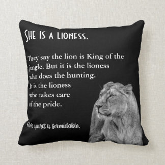 Lioness Themed Inspirational Throw Pillow