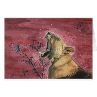 Lioness Yawn Card