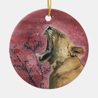 Lioness Yawn Ceramic Ornament