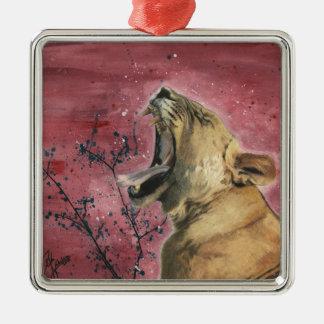 Lioness Yawn Metal Ornament