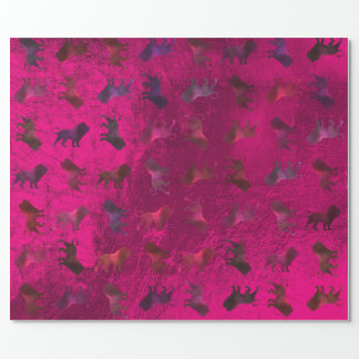 Lions Burgundy Maroon Purple Pink Glass Metallic Wrapping Paper