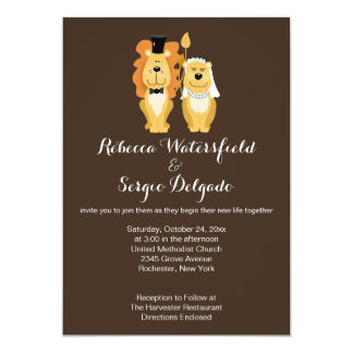 Lions Customized Wedding Invitation (Brown)