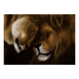 Lions - Digital Painting Poster