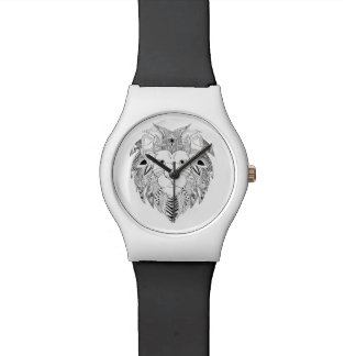Lions face in black and white line art tattoo wrist watches