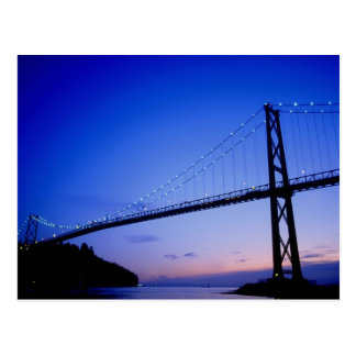 Lions Gate Bridge, at dusk, Vancouver, British Col Postcard