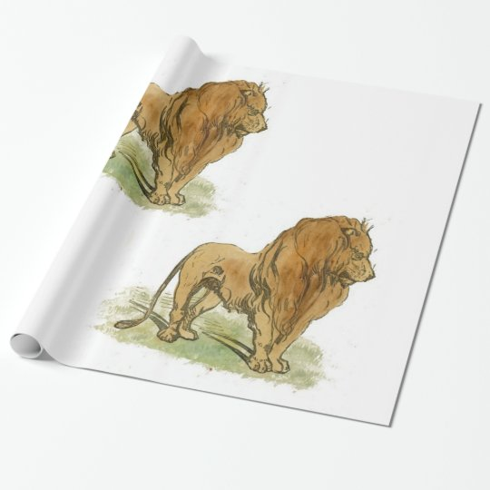Lions Gift Wrap Large Print