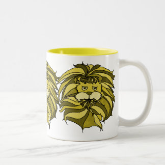 Lions in Yellow Two-Tone Coffee Mug