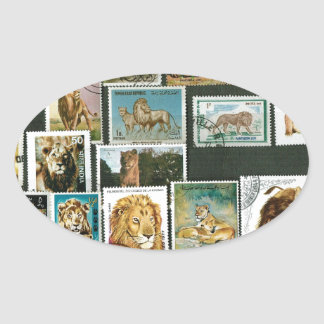 Lions on stamps oval sticker