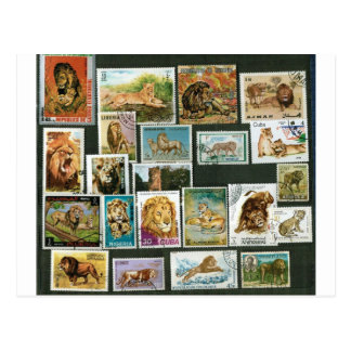 Lions on stamps postcard