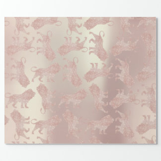 Lions Pink Rose Rose Gold Metallic Pastel Blush Wrapping Paper
