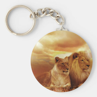 Lions relaxing in Africa Keychain