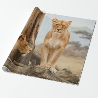Lions Resting in a Mountain Landscape Wrapping Paper