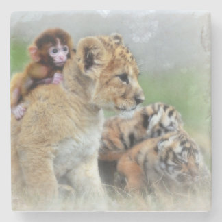 Lions, Tiger and Monkey Stone Coaster
