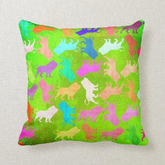 Lions Tropical Soho Bohemian Bright Green Tiffany Throw Pillow