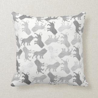 Lions Tropical White Gray Silver Graphite Safari Throw Pillow