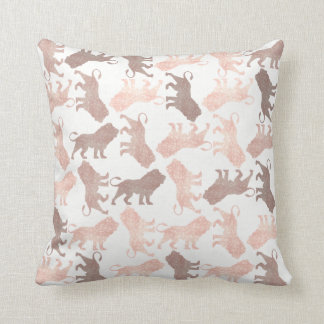 Lions Tropical White Pink Rose Gold Blush Safari Throw Pillow