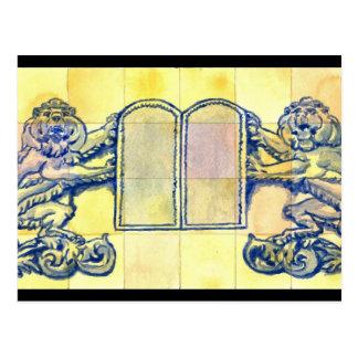 Lions with Ten Commandments Tablets Postcard