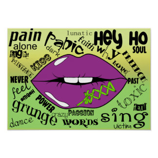 Lip and words Poster Paper (Matte)