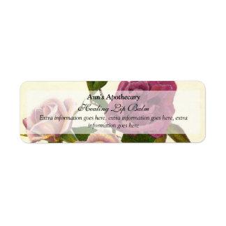 Lip Balm or Skin Products Label - Rose Return Address Label