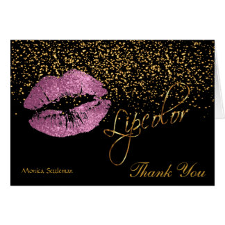 Lip Color So Pink Glitter Lips on Black Card