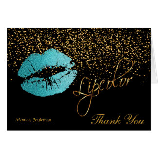 Lip Color Teal Glitter Lips on Black Card