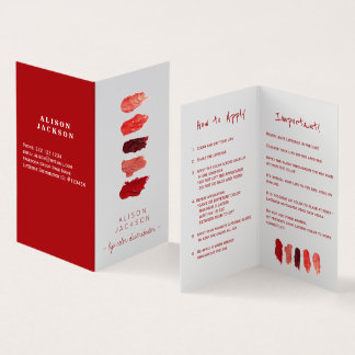 Lip distributor lip colour swatces business card