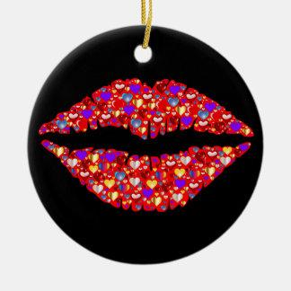 Lip heart ceramic ornament