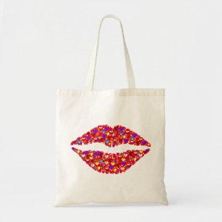 Lip heart tote bag