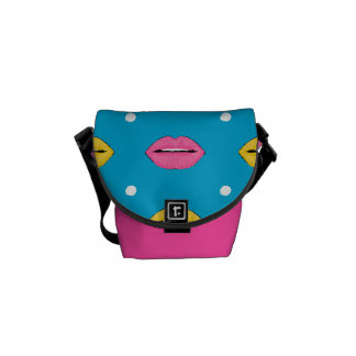 Lip pop art fashion pattern with dots commuter bags