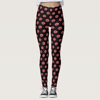 Lip Print Leggings Black Red kiss Pants