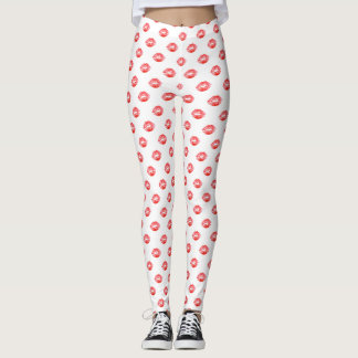 Lip Print Leggings White Red kiss Pants