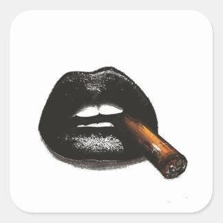 lip print square sticker