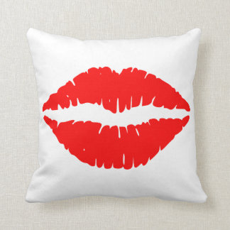 Lip print throw pillow