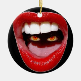 Lips and Eyes/STFU Ceramic Ornament
