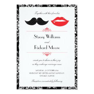 Lips and Mustache Damask Wedding Invitation