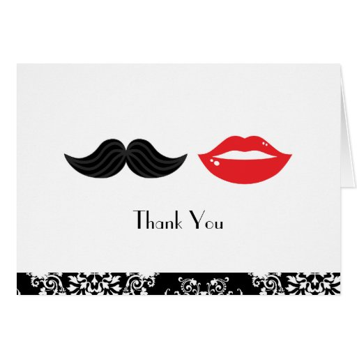 Lips and Mustache Damask Wedding Thank You Card