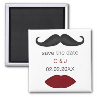lips and mustache mod save the date magnets