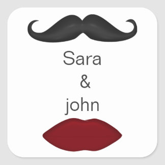 lips and mustache mod wedding envelope seal