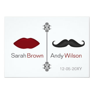 lips and mustache mod wedding Invitation cards