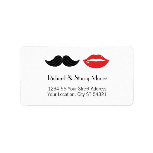 Lips and Mustache Wedding Address Label