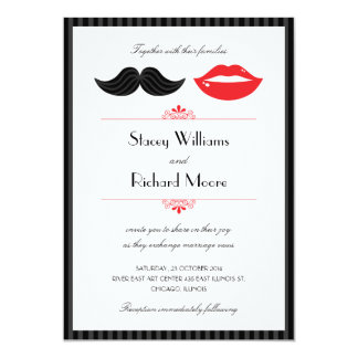 Lips and Mustache Wedding Invitation v.2