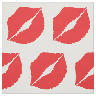 Lips Hot Kiss Mouth Luscious Red Lip Fabric