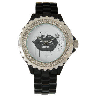 Lips kiss fashion glamour trendy chic black white wristwatches