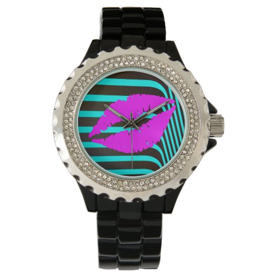 Lips kiss fashion glamour trendy girly wristwatches