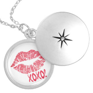 Lips Kiss XOXO Silver Plated Necklace