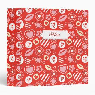 Lips, Love & Hearts Valentine's Day Pattern Vinyl Binders
