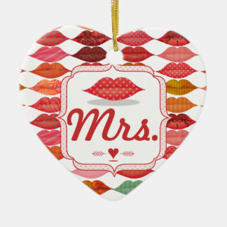 Lips Mrs. Hipster Vintage Retro Bride Ceramic Heart Ornament
