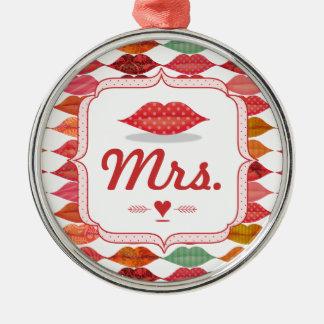 Lips Mrs. Hipster Vintage Retro Bride Silver-Colored Round Ornament