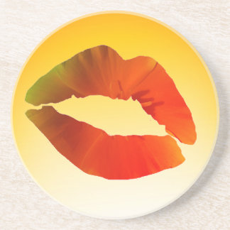 Lips, Sexy Mouth  Sandstone Drink Coaster