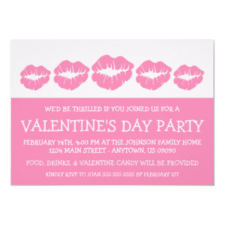 """Lips Silhouette Valetine's Day (Pink) 5"""" X 7"""" Invitation Card"""